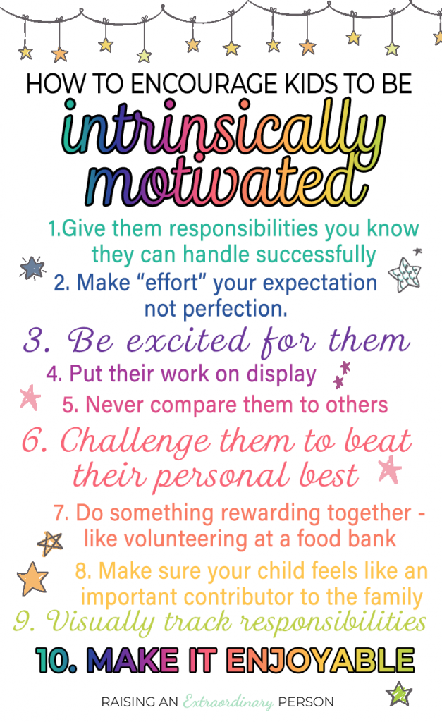 How to Encourage Kids to be Intrinsically Motivated - What Motivates Your Kids? Get 10 tips to make them intrinsically motivated , teaching them a growth mindset, and more tips for external motivators. #growthmindset #motivation #adhdkids #autism #positiveparenting #parenting