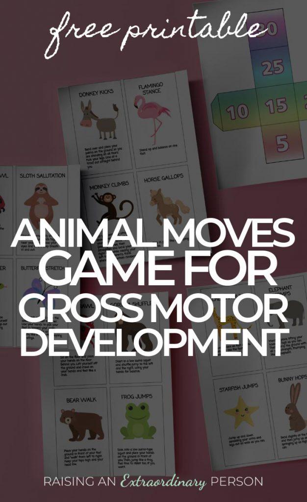 Exercise for kids: Fun animal moves game for development of gross motor skills - great indoor game for kinds // #GrossMotor #GrossMotorSkills #ExerciseForKids #ChildDevelopment #IndoorActivities #SensoryActivities #SPD #ADHDKids #Autism #ToddlerDevelopment