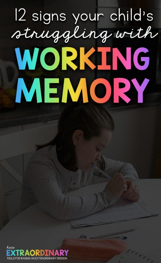 12 Signs your child is struggling with poor working memory. How to improve working memory skills? #ADHDKids #ParentingTips