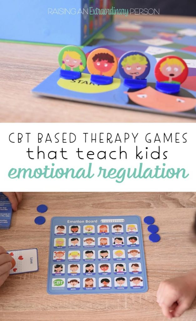 Playing CBT - 15 Therapy Games for Kids all in one box. These therapy games help children with social-emotional development including emotional regulation skills.