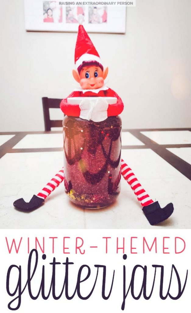These easy, winter-themed glitter jars make the perfect holiday craft idea for kids and it can also be used as a coping tool and to teach kids about emotional regulation. #GlitterJars #GlitterBottles #SensoryJars #WinterCrafts #ChristmasCrafts #KidsCraftIdeas