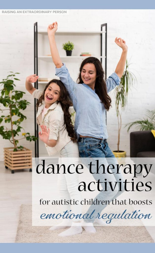 Dance/Movement Therapy Activities for Home - These DMT activities can be done at home with children. They help boost emotional regulation skills, and may even improve social communication skills #Autism #TherapyAtHome #PlayTherapy