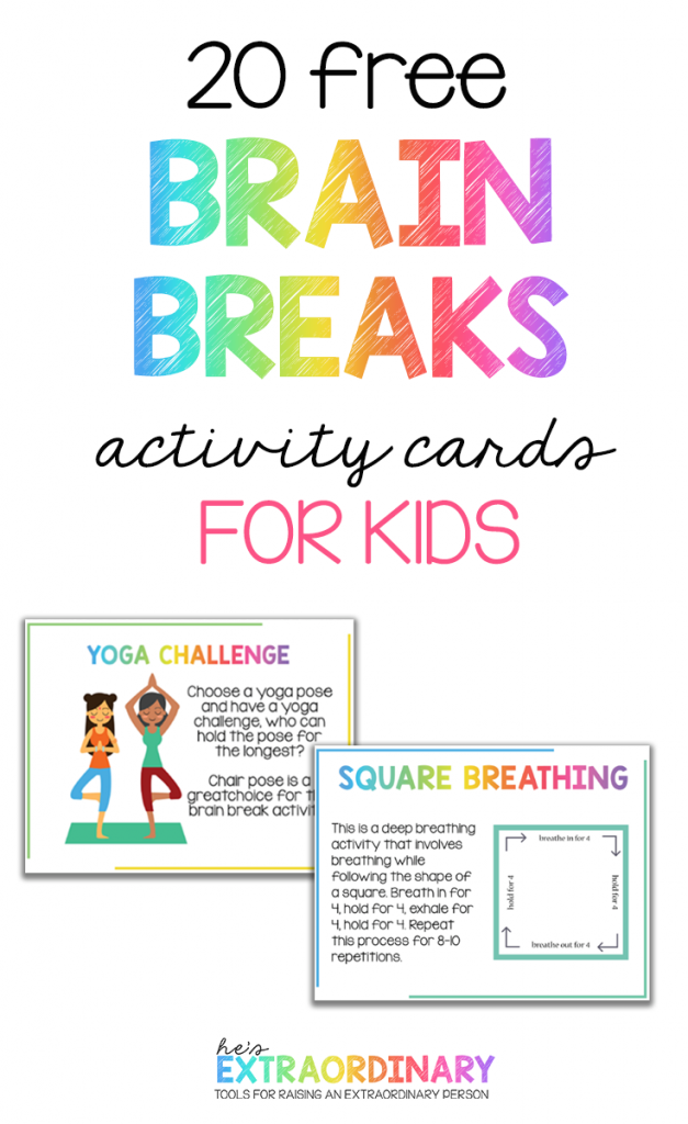 Brain Breaks for Kids - The benefits of brain breaks for elementary  aged children at home and school - plus 20 printable activity cards with brain break activities on them. Print and laminate and keep them on hand. #BrainBreaks #ADHDKids #Autism #SelfRegulation #TeachingResources