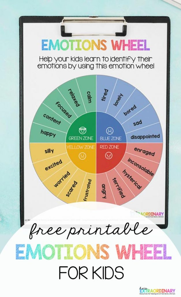 Printable Emotion Wheel for Kids - Use this emotion wheel to help your kids learn to identify their emotions. Based on the Zones of Regulation. // #TeachingResources #ZonesOfRegulation #SpecialEd