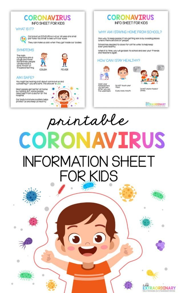 Coronavirus information sheet for kids - two page info sheet gives kids the facts about coronavirus in a way that doesn't cause fear, explains prevention and lets them know why they're home from school. All child friendly with visuals to help kids understand. #Coronavirus #HealthyKids