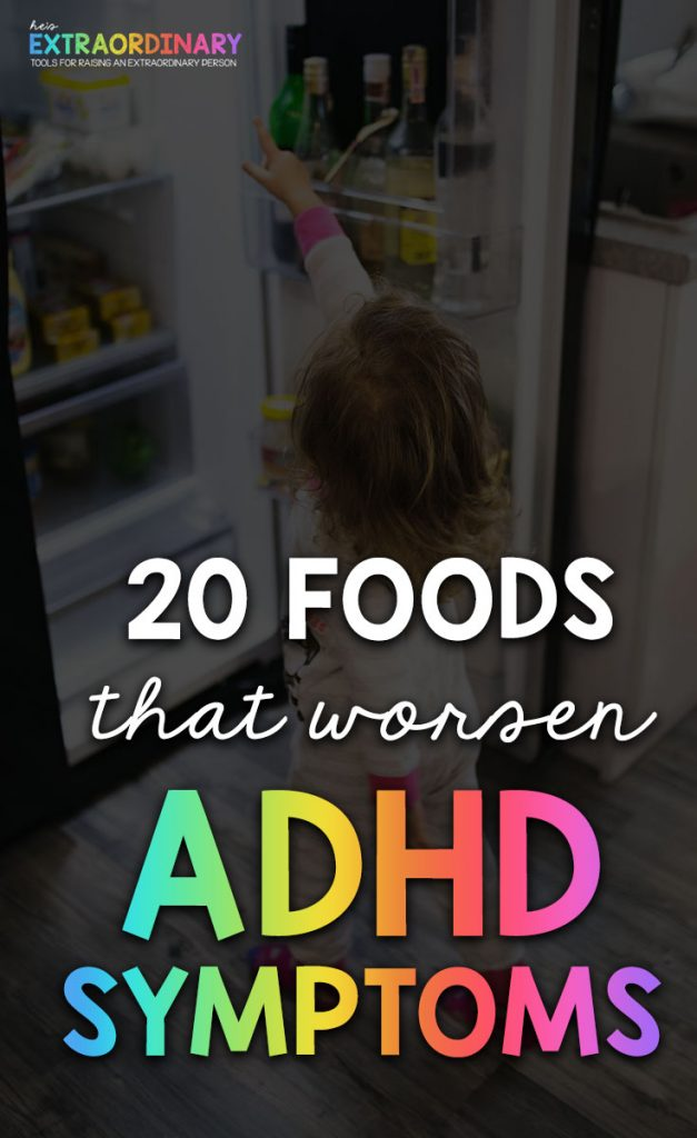 These 20 foods contain the dangerous red dye 40 - Is Red Dye 40 Causing you child's hyperactivity? 60-70% of Children with ADHD have symptoms below the diagnostic threshold after eliminating this known carcinogen from their diet. #ADHD #ADHDKids