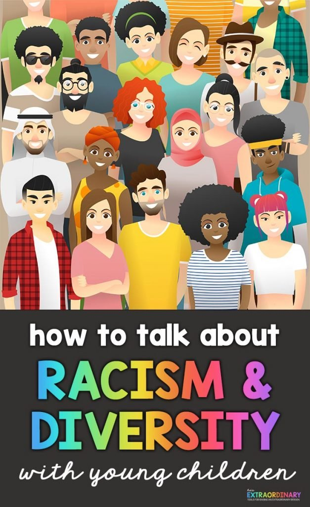 How to Talk About Racism & Diversity with Young Children - This article includes free learning material to help you discuss these important topics with young children in a developmentally appropriate way. #Racism #BlackLivesMatter #AntiRacism #PositiveParenting
