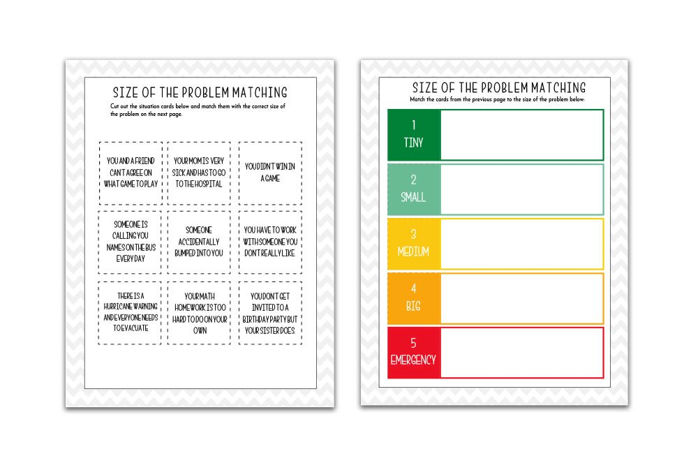 free zones of regulation printables - size of the problem