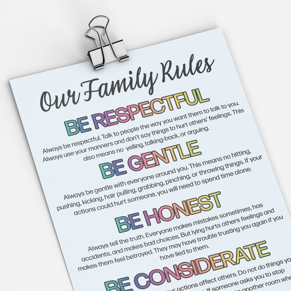 A picture of our family rules